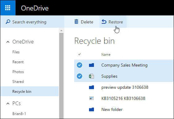 OneDrive 資源回收筒還原