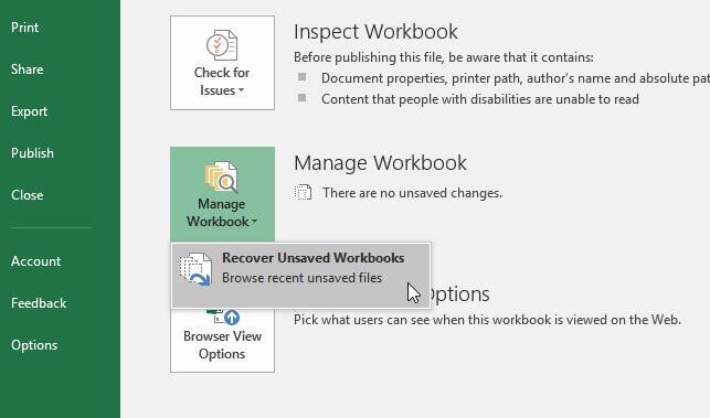 恢復未儲存的工作簿Excel